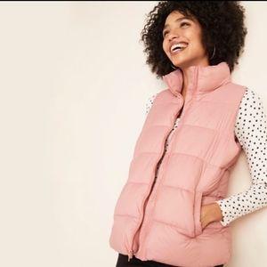 OLD NAVY Dusty Pink Puffer Fleece Lined Vest